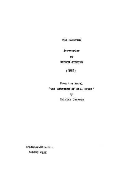 The Haunting, 1963, Screenplay, early version, cover page
