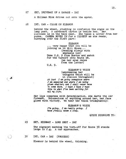 The Haunting, 1963, Screenplay, early version, page 15, original PDF