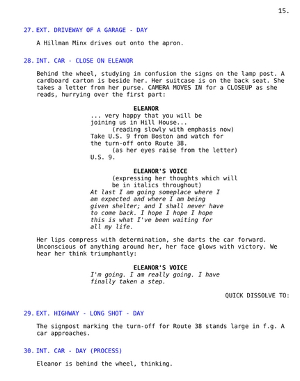 The Haunting, 1963, Screenplay, early version, page 15, restored